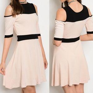 Dresses & Skirts - Pink Contrast Cold Shoulder A Line Dress